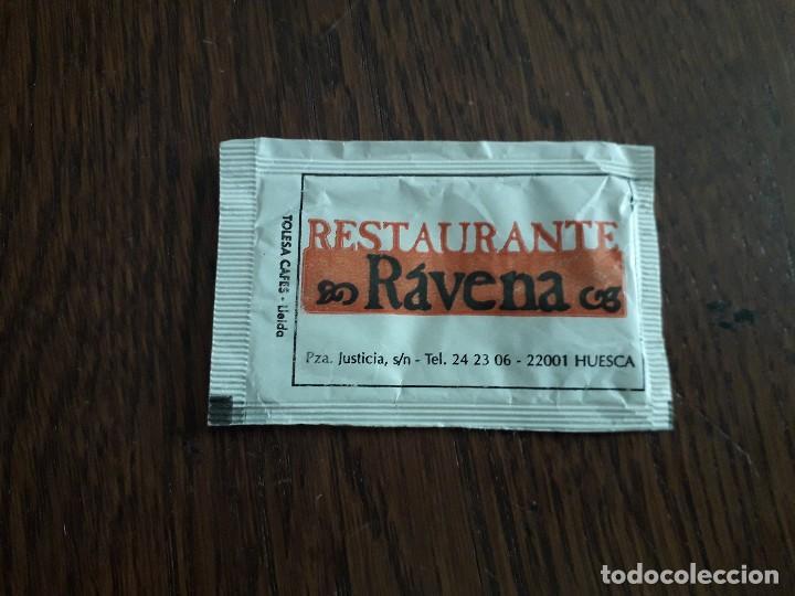 SOBRE DE AZÚCAR VACÍO DE PUBLICIDAD, RESTAURANTE RÁVENA, HUESCA. (Coleccionismos - Sobres de Azúcar)