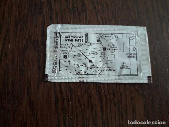 Sobres de azúcar de colección: sobre de azúcar vacío de publicidad, restaurant rem vell, Lleida. - Foto 2 - 236255575