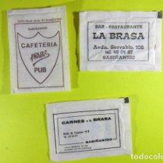 Bustine di zucchero di collezione: REF: SA-1234 - COLECCION MILES SOBRES AZUCAR SUGAR PACKET LEER INT.- 3 UD. SABIÑANIGO. Lote 241891090