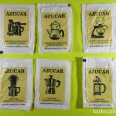 Bustine di zucchero di collezione: REF: SA-1234 COLECCION MILES SOBRES AZUCAR SUGAR PACKET LEER INT. 6 UD. CAFETERAS. Lote 241895935