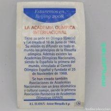Sobres de azúcar de colección: SOBRE DE AZÚCAR SERIE BEIJING 2008 - LA ACADEMIA OLÍMPICA. CAFÉS DROMEDARIO, 8 GR.. Lote 242273920