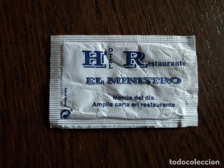 SOBRE DE AZÚCAR VACÍO DE PUBLICIDAD, HOTEL RESTAURANTE EL MINISTRO, EL PUENTE DE SANABRIA. ZAMORA. (Coleccionismos - Sobres de Azúcar)