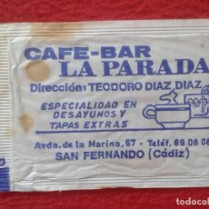 Sobres de azúcar de colección: SOBRE DE AZÚCAR PACKET PACKAGE OF SUGAR SUCRE ZUCKER ZUCCHERO VACÍO CAFÉ BAR LA PARADA SAN FERNANDO. Lote 261163410