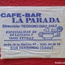 Sobres de azúcar de colección: SOBRE DE AZÚCAR PACKET PACKAGE OF SUGAR SUCRE ZUCKER ZUCCHERO VACÍO CAFÉ BAR LA PARADA SAN FERNANDO. Lote 261163620