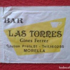 Sobres de azúcar de colección: SOBRE AZÚCAR PACKET PACKAGE OF SUGAR SUCRE ZUCKER ZUCCHERO BAR LAS TORRES MORELLA CASTELLÓN VALIENTE. Lote 261241125