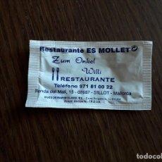 Sobres de azúcar de colección: SOBRE DE AZÚCAR VACÍO DE PUBLICIDAD, RESTAURANTE ES MOLLET, S'ILLOT. MALLORCA.. Lote 287797798