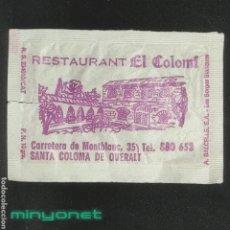 Sobres de azúcar de colección: SOBRE DE AZÚCAR RESTAURANT EL COLOMÍ. SANTA COLOMA DE QUERALT. A. BALCELLS, 10 GR.. Lote 287993953