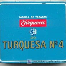 Paquetes de tabaco: CAJA METALICA TURQUESA Nº 4. Lote 27359931