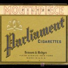 Paquetes de tabaco: PAQUETE DE TABACO VACIA ANTIGUO PARLIAMENT, BENSON & HEDGES. NEW YORK. Lote 11760226