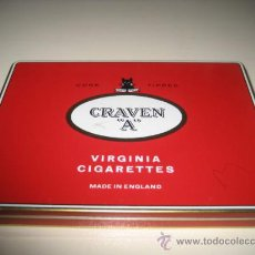 "Paquetes de tabaco: ANTIGUA CAJA METALICA DE TABACO CRAVEN ""A"". Lote 14142547"