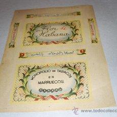 Paquetes de tabaco: FLOR DE HABANA - MONOPOLIO DE TABACOS EN MARRUECOS - AÑO 1940* - (ETIQUETA DIFICIL). 21,5 X 15,5 CM.. Lote 245449780