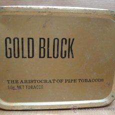 Paquetes de tabaco: ANTIGUA LATA DE TABACO PIPA - GOLD BLOCK 50GRS - ENGLAND . Lote 27592647