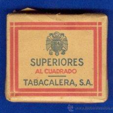Paquetes de tabaco: ANTIGUO PAQUETE DE TABACO, CIGARRILLOS, MARCA: SUPERIORES AL CUADRADO, TABACALERA S.A., AÑOS 40.. Lote 126870891