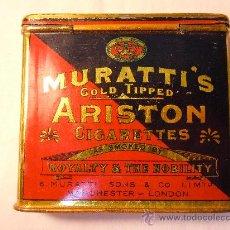 Paquetes de tabaco: CAJA DE LATA CON 17 CIGARRILLOS MURATI´S ARISTON. Lote 30582316