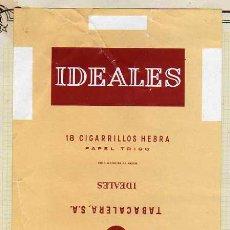 Paquetes de tabaco: PAQUETE DE CIGARRILLOS. IDEALES. 18 CIGARRILLOS SELECTOS. TABACALERA.. Lote 31618177