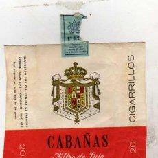 Paquetes de tabaco: PAQUETE DE TABACO CABAÑAS. FILTRO DE LUJO. CIGARRILLOS. . Lote 31677593