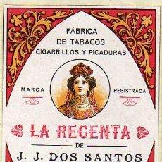 Paquetes de tabaco: ETIQUETA ORIGINAL 15 X 10,50 CM. FÁBRICA DE TABACOS CIGARRILLOS Y PICADURAS. LA REGENTA. LAS PALMAS.. Lote 32255720