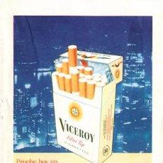 Paquetes de tabaco: PÁGINA PUBLICIDAD ORIGINAL *CIGARRILLOS VICEROY* AGENCIA PUBLICIDAD CLARIN. AÑO 1961. Lote 36090101