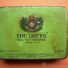 Paquetes de tabaco: THE GREYS SILK CUT VIRGINIA. METÁLICA. LONDON. Lote 36251219