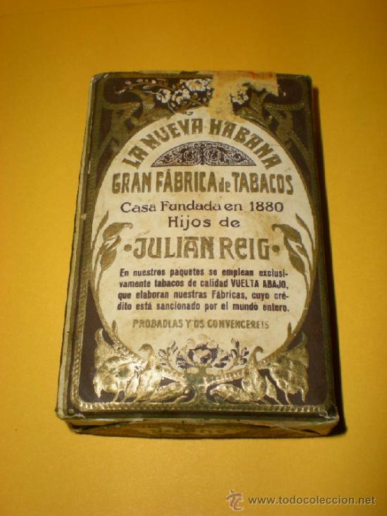 ANTIGUO PAQUETE DE PICADURA EXTRA AL CUADRADO LA NUEVA HABANA GRAN FABRICA DE TABACOS DE JULIAN REIG (Coleccionismo - Objetos para Fumar - Paquetes de tabaco)