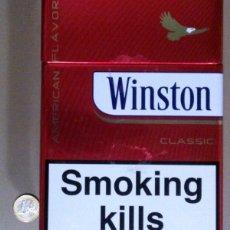 Paquetes de tabaco: ENORME CAJA TABACO WINSTON METALIZADA. DIMENSIONES ENORMES Y MUY RARAS (18,5X13X7 CM) BUEN ESTADO!. Lote 39505387