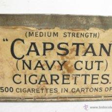 Paquetes de tabaco: CAJA DE LATA DE CIGARRILLOS CAPSTAN. NAVY CUT. SIN TAPA. FUMADOR. TABACO.. Lote 41031639