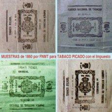 Paquetes de tabaco: 1860. LOTE DE 4 DOCUMENTOS PLIEGOS -MUESTRA- DE 8 ENVOLTORIOS C/UNO PARA TABACO PICADO CON LA RENTA.. Lote 41280159
