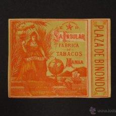 Paquetes de tabaco: ETIQUETA DE CAJA DE CIGARRILLOS. LA INSULAR. MANILA.. Lote 218263042