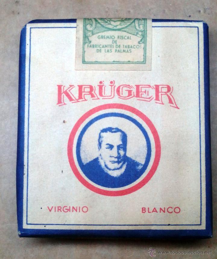 1 ANTIGUA ('60S-'70S) CAJETILLA CON CIGARRILLOS - NUNCA ABIERTA - 'KRÜGER' (VIRGINIO BLANCO) (Coleccionismo - Objetos para Fumar - Paquetes de tabaco)