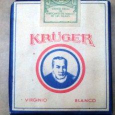 Paquetes de tabaco: 1 ANTIGUA ('60S-'70S) CAJETILLA CON CIGARRILLOS - NUNCA ABIERTA - 'KRÜGER' (VIRGINIO BLANCO). Lote 227763370