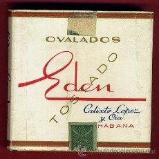 Paquetes de tabaco: PAQUETE DE TABACO, OVALADOS EDEN , HABANA CUBA , VACIO, CARTULINA, ORIGINAL 6 . Lote 43582203
