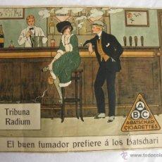 Paquetes de tabaco: CARTEL ORIGINAL DE CIGARRILLOS A. BATSCHARI. 1913. FIRMADO A. LOURAINE. FUMADOR. TABACO. BADEN.. Lote 43596642