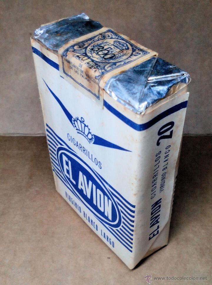 Paquetes de tabaco: 1 ANTIGUA ('60s-'70s) CAJETILLA CON CIGARRILLOS - NUNCA ABIERTA - 'EL AVIÓN' (VIRGINIO BLANCO LARGO) - Foto 2 - 109129867