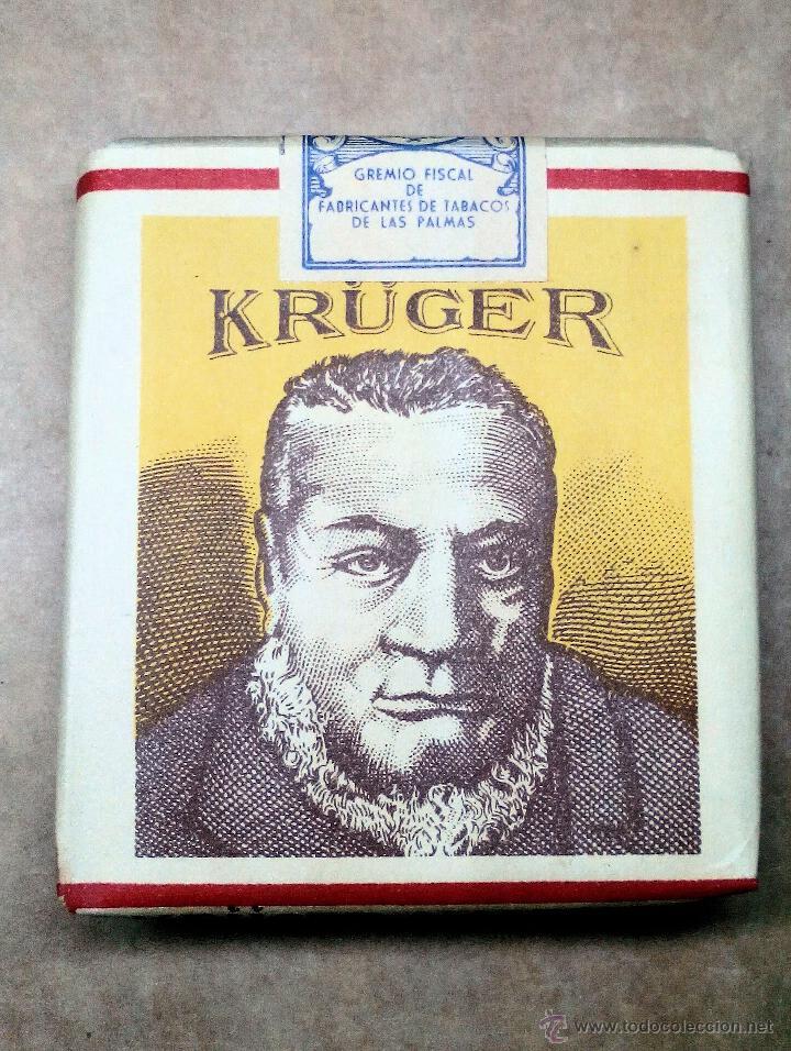 1 ANTIGUA ('60S-'70S) CAJETILLA CON CIGARRILLOS - NUNCA ABIERTA - 'KRÜGER' (AMARILLO) (Coleccionismo - Objetos para Fumar - Paquetes de tabaco)