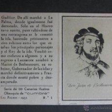 Paquetes de tabaco: CIGARRILLOS CUMBRE - LAS PALMAS - CANARIAS - COL. COMPLETA 100 CROMOS CANARIOS ILUSTRES - (CR-627). Lote 43987875