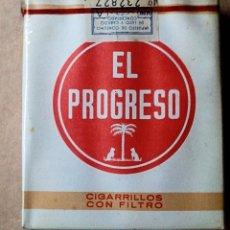 Paquetes de tabaco: 1 ANTIGUA ('60S-'70S) CAJETILLA CON CIGARRILLOS - NUNCA ABIERTA - 'EL PROGRESO' (FILTRO - ROJA). Lote 237094405