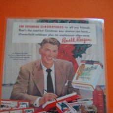 Paquetes de tabaco: CARTEL - REPRODUCCION ANTIGUA PUBLICIDAD - RONALD REEGAN CHESTERFIELD -PLASTIFICADO TAM.APROX.DINA3 . Lote 50110603