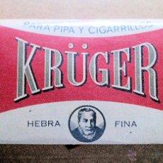 Paquetes de tabaco: 1 ANTIGUO ('60S-'70S) PAQUETE CON PICADURA - NUNCA ABIERTO - 'KRÜGER'. Lote 44804197