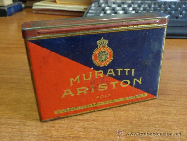 PAQUETE TABACO-LATA LITOGRAFIADA. MURATTI ARISTON GOLD. CIGARETTENFABRIK MURATTI A. G. BERLIN. (Coleccionismo - Objetos para Fumar - Paquetes de tabaco)