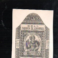 Paquetes de tabaco: 1920.MARQUILLA DE TABACO. EL SIBONEY. GERVASIO Nº 182. HABANA, CUBA. ARROZ - GEBRA.. Lote 47200946