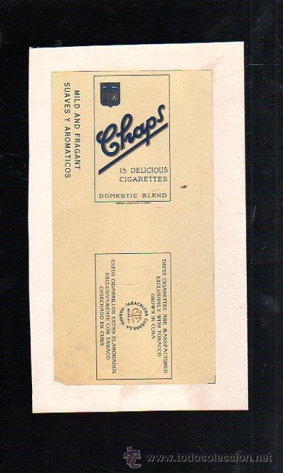 1940.MARQUILLA DE TABACO. CHAPS. DOMESTIC BLEND. SUAVES Y AROMATICOS. HABANA, CUBA. (Coleccionismo - Objetos para Fumar - Paquetes de tabaco)