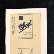Paquetes de tabaco: 1940.MARQUILLA DE TABACO. CHAPS. DOMESTIC BLEND. SUAVES Y AROMATICOS. HABANA, CUBA.. Lote 47201022