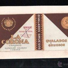 Paquetes de tabaco: 1940.MARQUILLA DE TABACO. LA CORONA. OVALADOS GRUESOS. HABANA, CUBA.. Lote 47201058