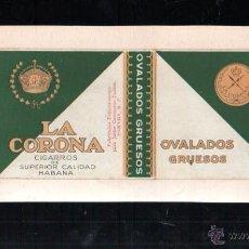 Paquetes de tabaco: 1940.PAQUETE.MARQUILLA DE TABACO. LA CORONA. OVALADOS GRUESOS. HABANA, CUBA.. Lote 47201081
