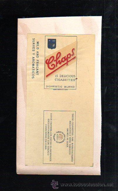 1950.MARQUILLA DE TABACO. CHAPS. DOMESTIC BLEND. SUAVES Y AROMATICOS. HABANA, CUBA. (Coleccionismo - Objetos para Fumar - Paquetes de tabaco)