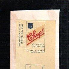 Paquetes de tabaco: 1950.MARQUILLA DE TABACO. CHAPS. DOMESTIC BLEND. SUAVES Y AROMATICOS. HABANA, CUBA.. Lote 47201964