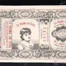 Paquetes de tabaco: 1920MARQUILLA DE TABACO. LA CREMA DE CUBA. BOUQUETS TRIGO HEBRA. MANUEL GARCIA ALONSO. HABANA, CUBA.. Lote 50018930