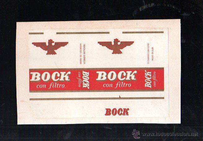 MARQUILLA DE TABACO. BOCK CON FILTRO. HABANA, CUBA.1940. PAQUETE TABACO (Coleccionismo - Objetos para Fumar - Paquetes de tabaco)
