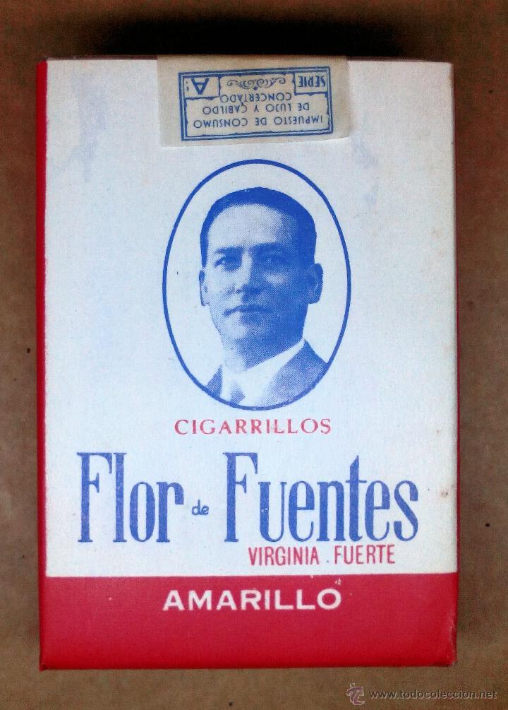 1 ANTIGUA ('60S-'70S) CAJETILLA CON CIGARRILLOS - NUNCA ABIERTA - 'FLOR DE FUENTES' (AMARILLO) (Coleccionismos - Paquetes de tabaco)