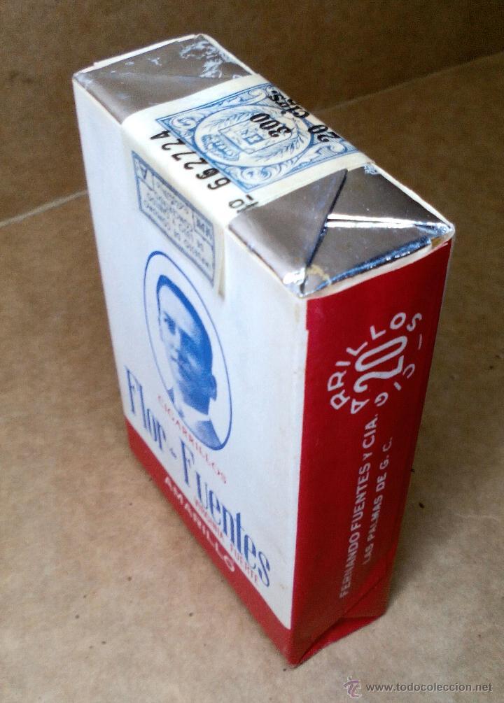 Paquetes de tabaco: 1 ANTIGUA ('60s-'70s) CAJETILLA CON CIGARRILLOS - NUNCA ABIERTA - 'FLOR DE FUENTES' (AMARILLO) - Foto 2 - 109129958